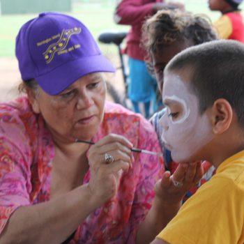 Aboriginal Elder, Aunty Munya Andrews, Face Painting