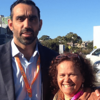 Evolve Co-Director Munya Andrews with Retired Sydney Swans footballer Adam Goodes